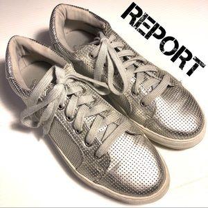 Report Aioli perf silver platform sneakers 8.5